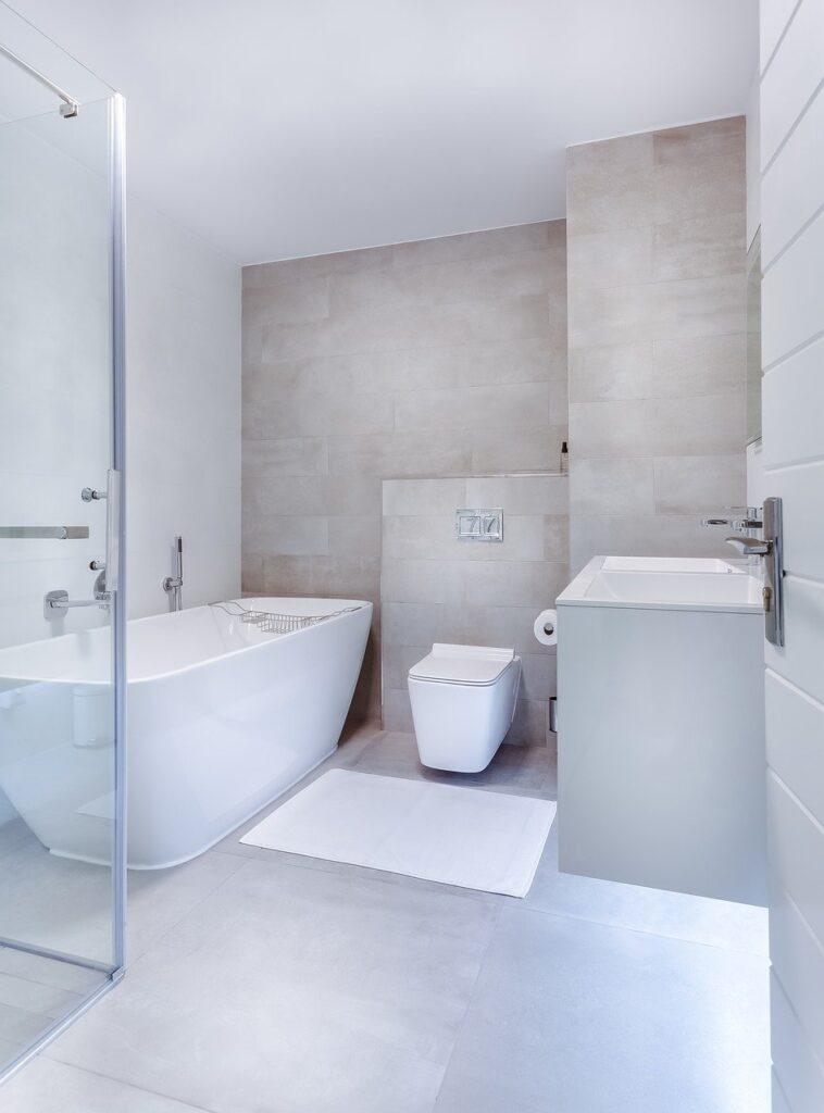 modern minimalist bathroom, interior, toilet